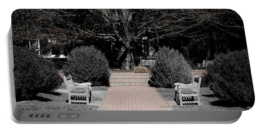 Bench Portable Battery Charger featuring the photograph Meditation Area by Trish Tritz