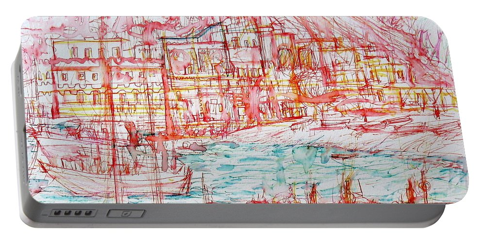 Seashore Portable Battery Charger featuring the painting Mediterranean Bay by Fabrizio Cassetta