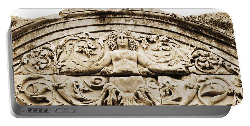 Ephesus Portable Battery Charger featuring the photograph Medusa Of Ephesus Turkey by Beth Riser
