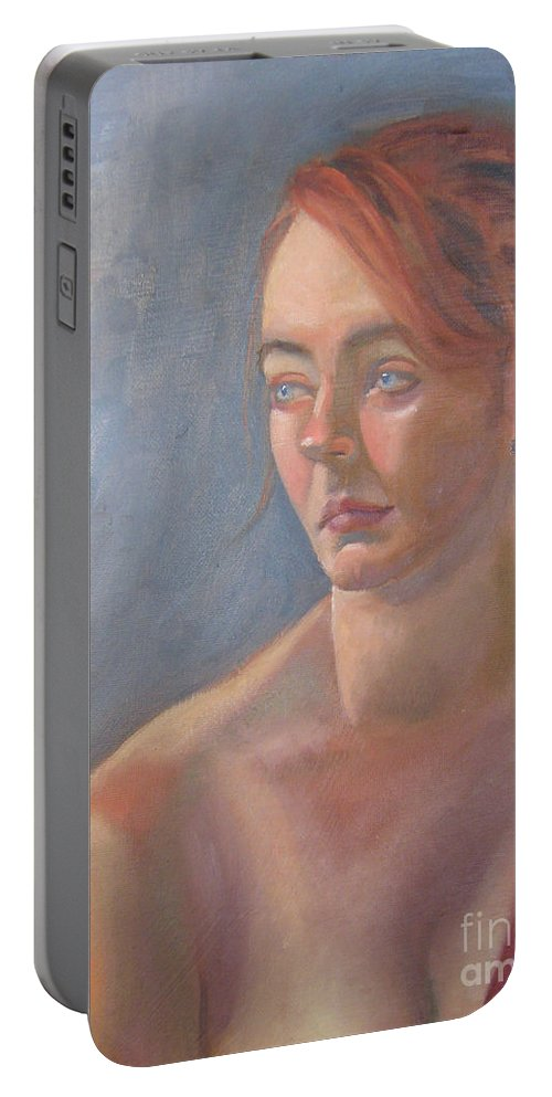 Figure Art Portable Battery Charger featuring the painting Memories In Red by Lilibeth Andre