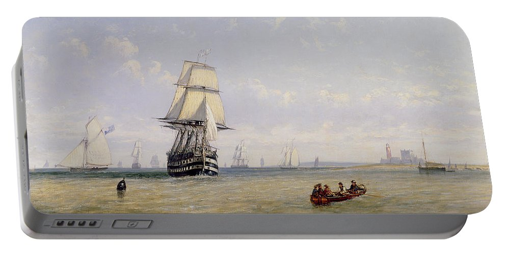 Yacht; Boats; Ships Portable Battery Charger featuring the painting Meno War Schooners And Royal Navy Yachts by Claude T Stanfield Moore