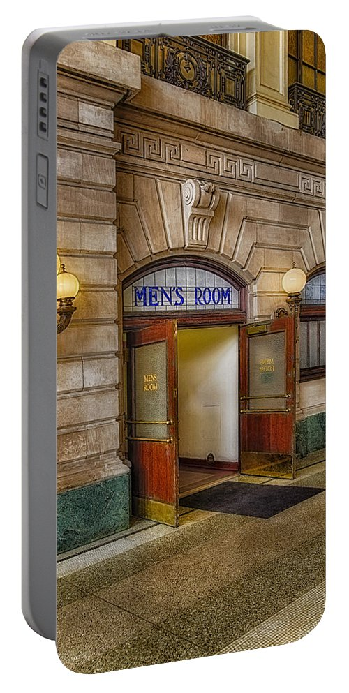 Mens Room Portable Battery Charger featuring the photograph Mens Room by Susan Candelario