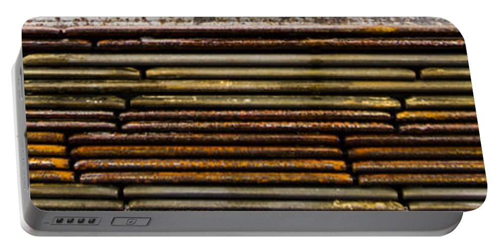 Design Portable Battery Charger featuring the photograph Metal Stripe by Jean Noren
