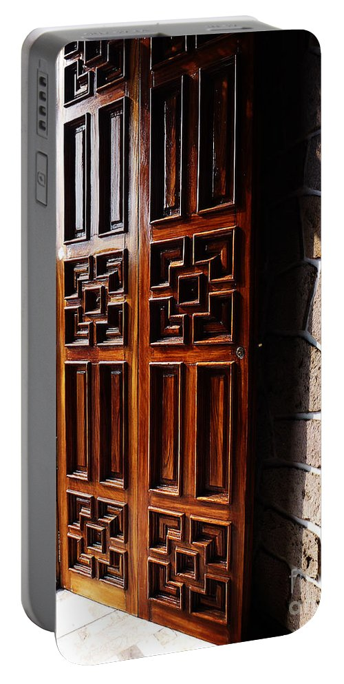 North America Portable Battery Charger featuring the photograph Mexican Door 42 by Xueling Zou