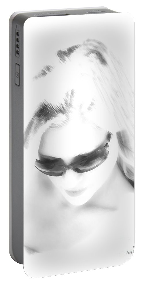Black And White Portable Battery Charger featuring the photograph Michelle by Anne Kitzman