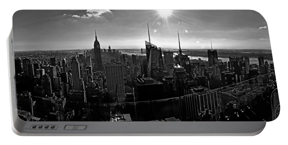 Black And White Portable Battery Charger featuring the photograph Midtown South Bw by S Paul Sahm