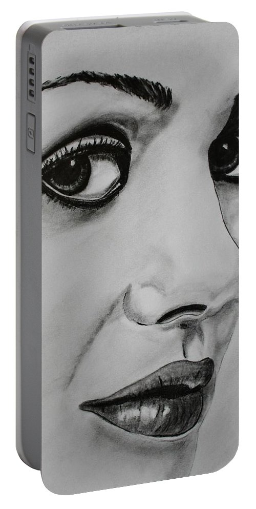 Mila Portable Battery Charger featuring the drawing Mila by Michael Cross