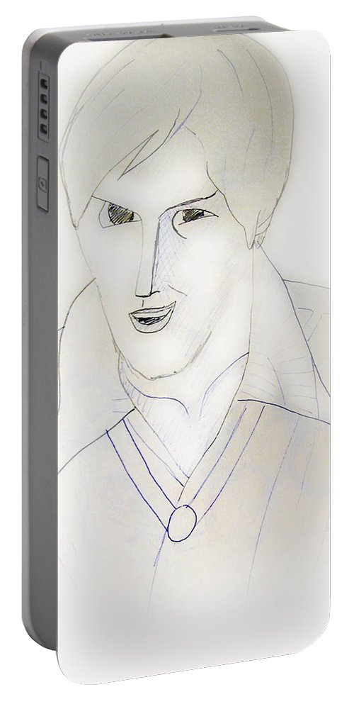 2d Portable Battery Charger featuring the drawing Minimalism - Young Man by Brian Wallace