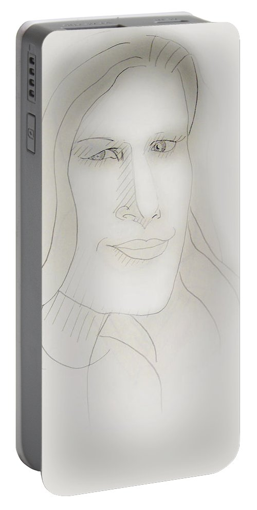 2d Portable Battery Charger featuring the drawing Minimalism - Young Woman by Brian Wallace
