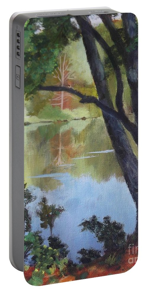 Blue Portable Battery Charger featuring the painting Mirror Reflection by Claire Gagnon