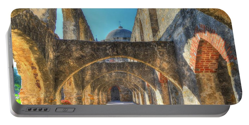 San Jose Mission Portable Battery Charger featuring the photograph Mission Arches by David Morefield