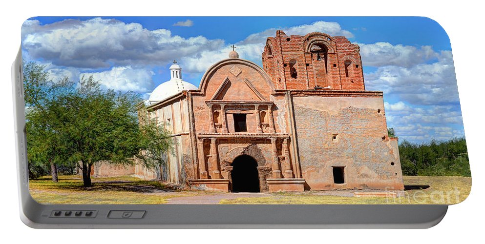 Fine Art Photography Portable Battery Charger featuring the photograph Mission At Tumacacori by Donna Greene