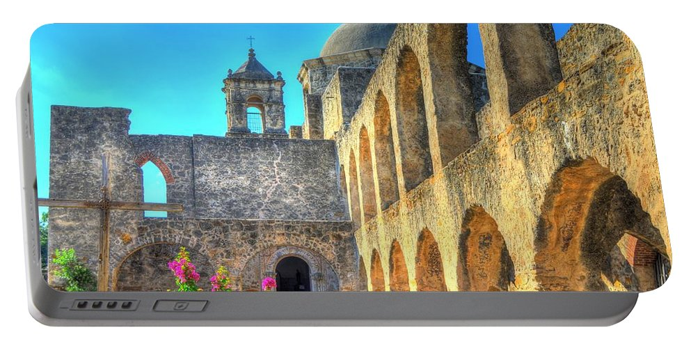 Courtyard Portable Battery Charger featuring the photograph Mission Courtyard by David Morefield