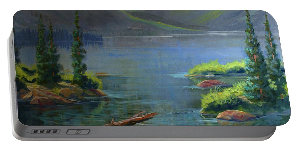 Misty Lake Portable Battery Charger featuring the painting Misty Lake by Heather Coen