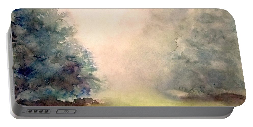 Landscape Portable Battery Charger featuring the painting Misty Morning 2 by Yoshiko Mishina