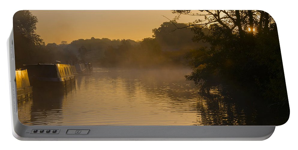Mist Portable Battery Charger featuring the photograph Misty Morning On The Grand Union Canal by Louise Heusinkveld