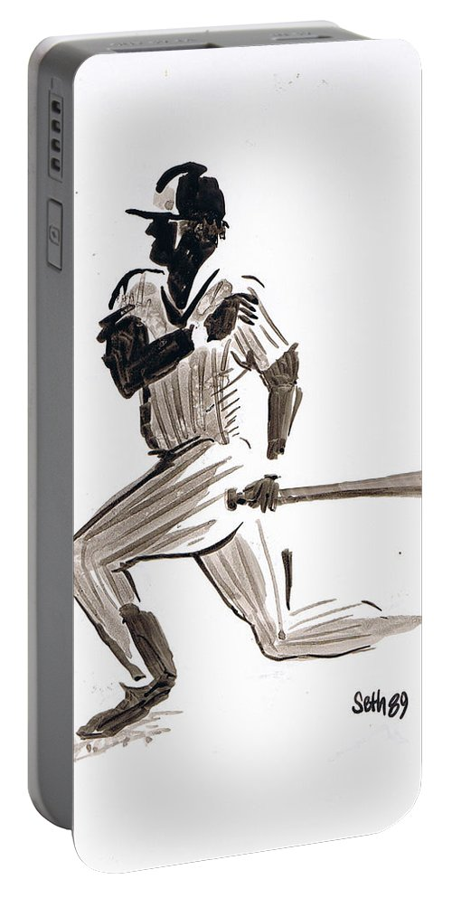 Mlb Base Hit Portable Battery Charger featuring the drawing Mlb Base Hit by Seth Weaver
