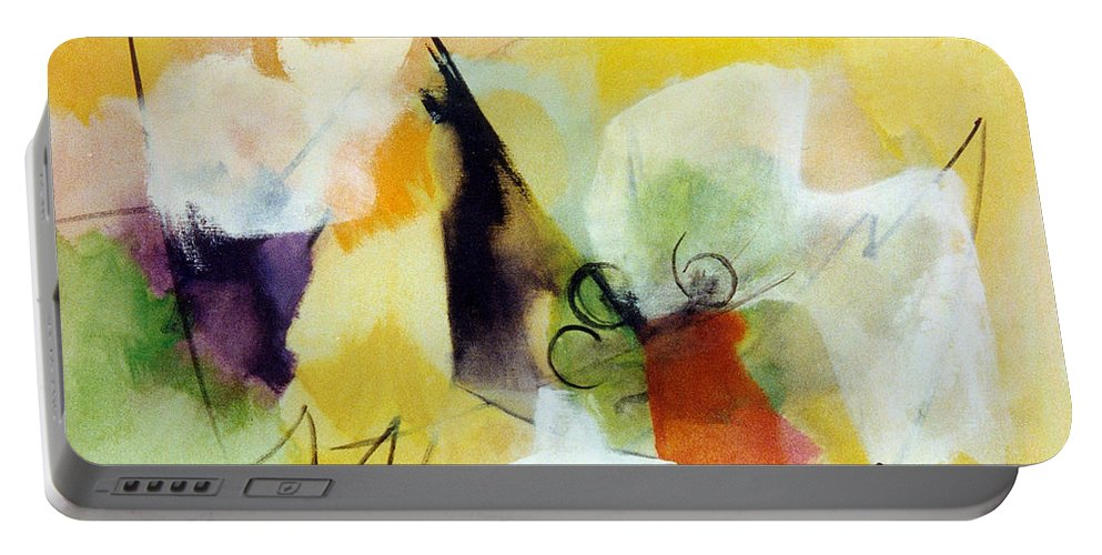 Modern Art Portable Battery Charger featuring the painting Modern Art With Yellow Black Red And Fanciful Clouds by Betty Pieper