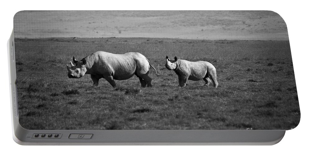 Africa Portable Battery Charger featuring the photograph Mom And Child Black Rhinos by Darcy Michaelchuk