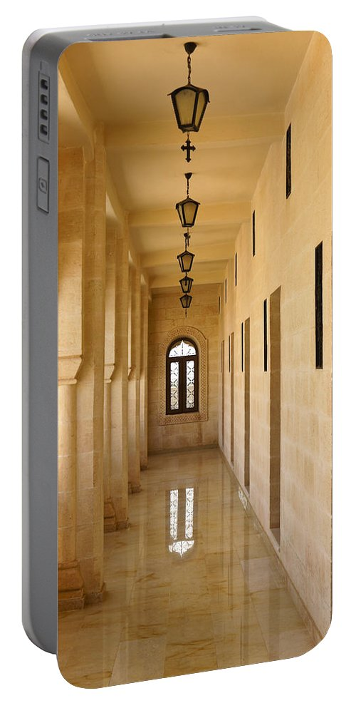 Turkey Portable Battery Charger featuring the photograph Monastery Passageway by Michele Burgess