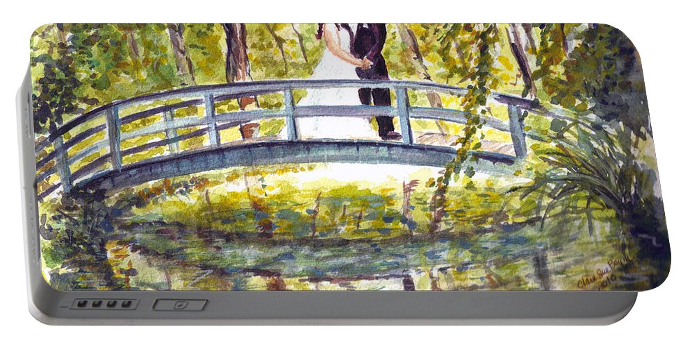 Garden Bridge Portable Battery Charger featuring the painting Monet Wedding by Clara Sue Beym