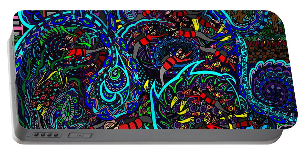 Big Wave Portable Battery Charger featuring the painting Monster Wave by Karen Elzinga