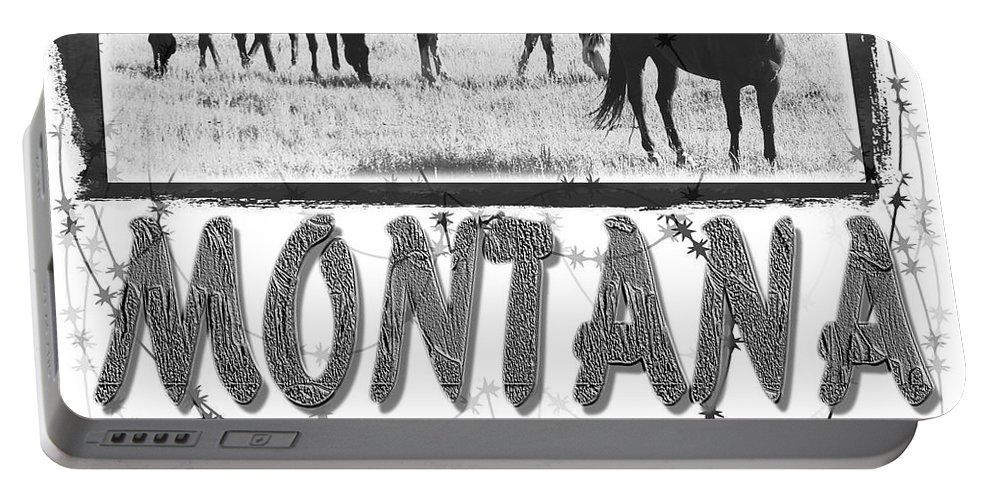 Montana Art Portable Battery Charger featuring the digital art Montana Horse Design by Susan Kinney