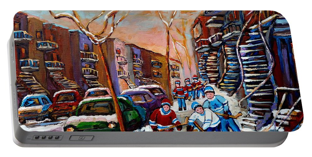 Montreal Portable Battery Charger featuring the painting Montreal Hockey Paintings by Carole Spandau