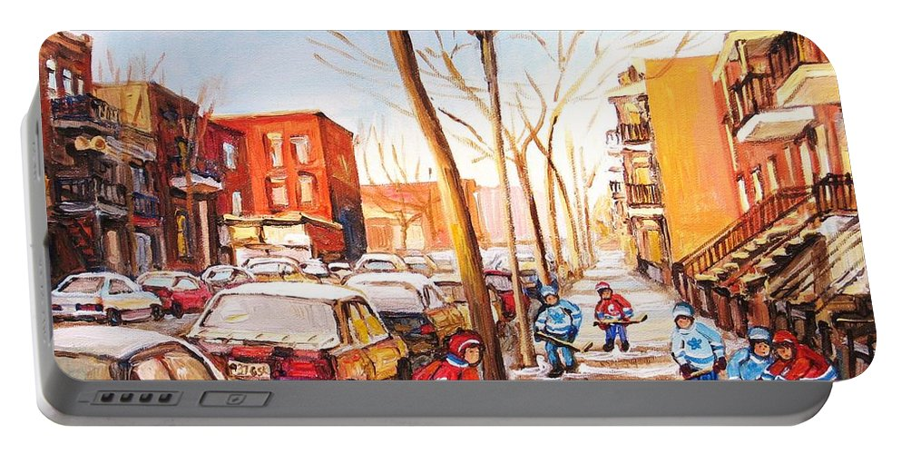 Montreal Street Scene With Boys Playing Hockey Portable Battery Charger featuring the painting Montreal Street With Six Boys Playing Hockey by Carole Spandau