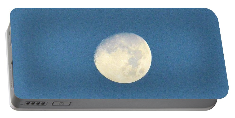 Moon Portable Battery Charger featuring the photograph Moon Before Dark by Maria Urso