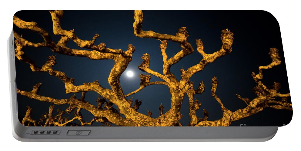 Moon Portable Battery Charger featuring the photograph Moon Light And Tree by Mats Silvan