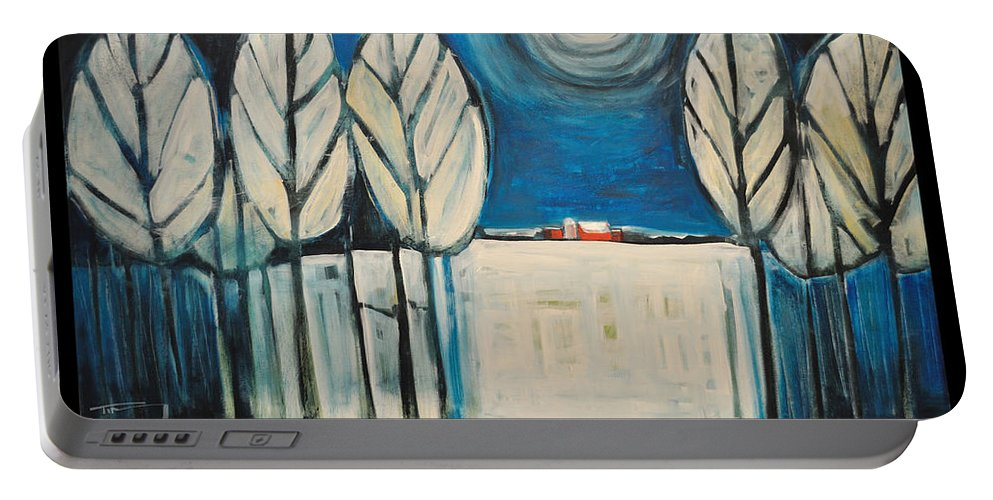 Moon Portable Battery Charger featuring the painting Moon Quote Poster by Tim Nyberg