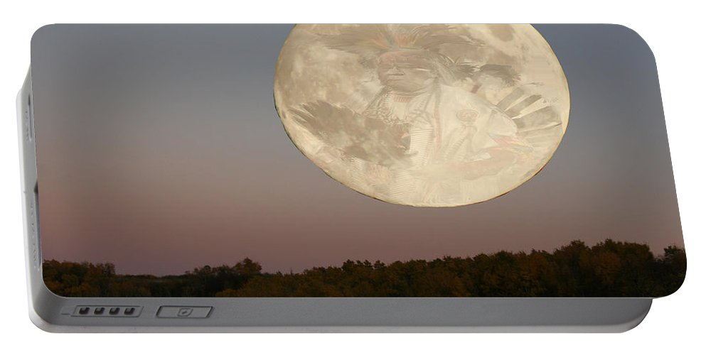 Native Art Moon Warrior Trees Sky Valley Saskatchewan Artist Personalized Greeting Cards Album Covers Cd Art Different Images Weird Portable Battery Charger featuring the photograph Moon Warrior by Andrea Lawrence
