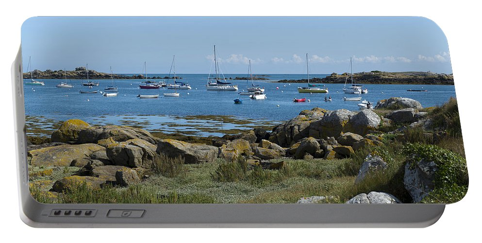 Brittany Portable Battery Charger featuring the photograph Moorings Iles Chausey by Gary Eason