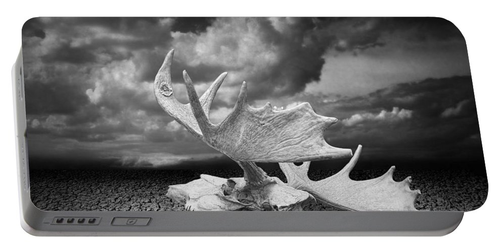 Art Portable Battery Charger featuring the photograph Moose Skull On Parched Earth by Randall Nyhof