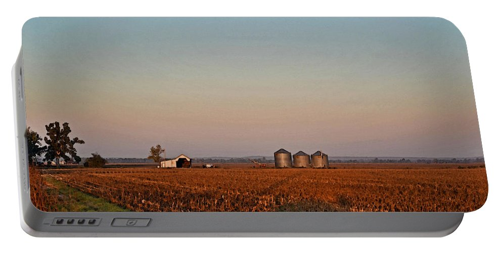 Scenery Portable Battery Charger featuring the photograph Morning In The Heartland Watercolor Photoart I by Debbie Portwood
