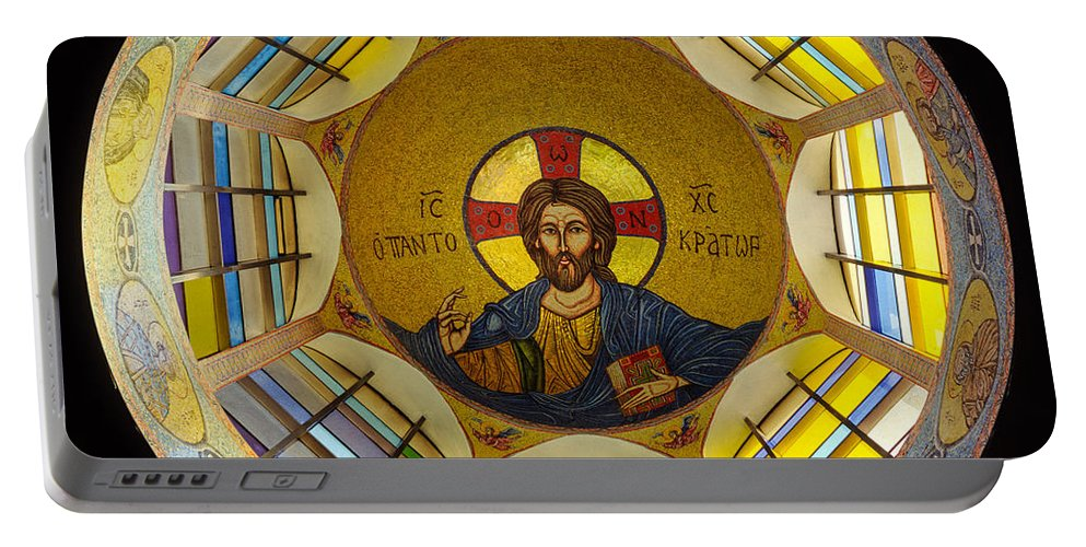 Christ Mosaic On Ceiling Of St Demetrios Greek Orthodox Portable Battery Charger featuring the photograph Mosaic Christ by Mike Penney