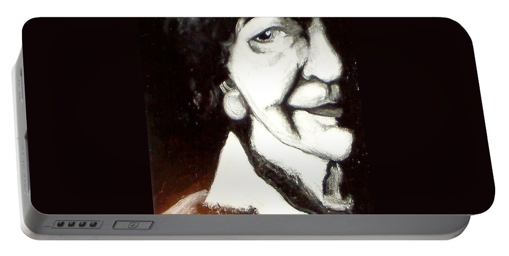 Oil Portable Battery Charger featuring the painting Mother by Carrie Maurer