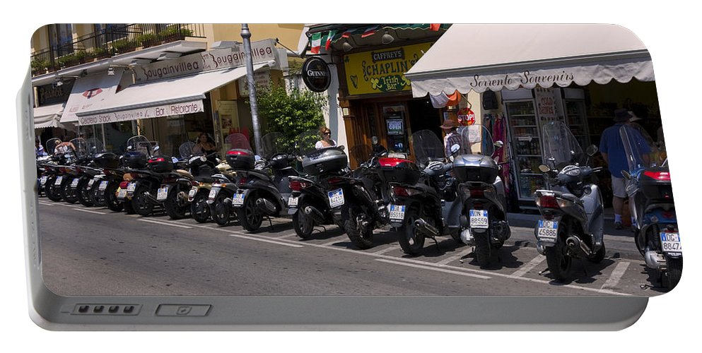 Street Scene Portable Battery Charger featuring the photograph Motorbikes by Sally Weigand