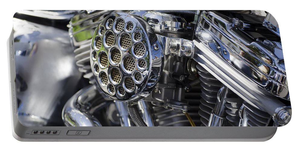 Motorcycle Portable Battery Charger featuring the photograph Motorcycle Engine by Mats Silvan