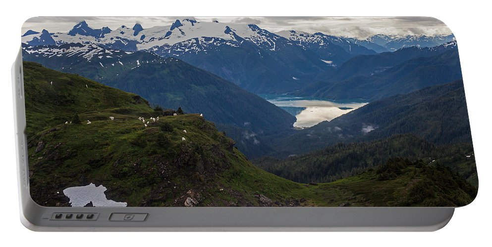Frederick Sound Portable Battery Charger featuring the photograph Mountain Flock by Mike Reid