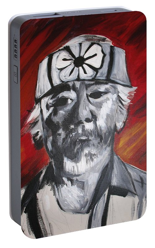 Portrait Portable Battery Charger featuring the painting Mr. Miyagi by Kate Fortin