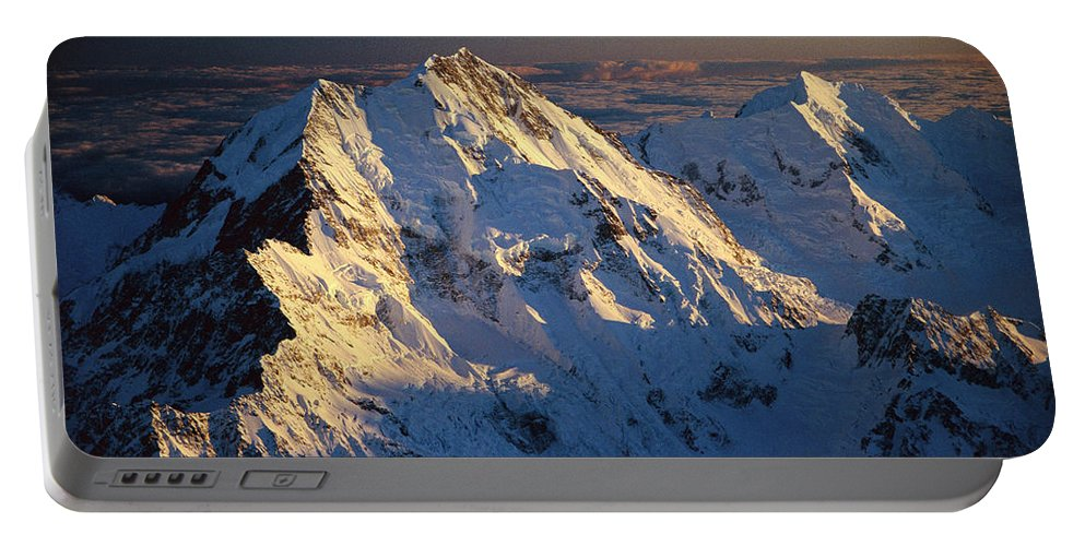 Aerial View Portable Battery Charger featuring the photograph Mt Cook Or Aoraki And Mt Tasman, Aerial by Colin Monteath