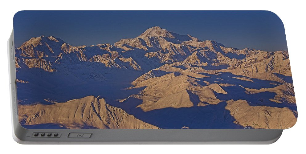 Alaska Portable Battery Charger featuring the photograph Mt. Mckinley Sunset From Above by Darcy Michaelchuk