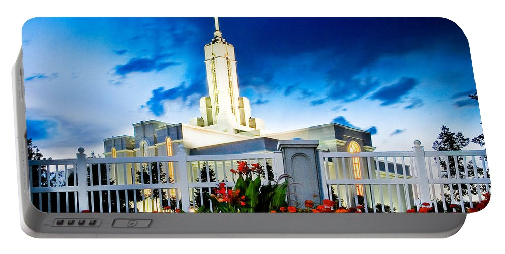 Mt Timpanogas Temple Portable Battery Charger featuring the photograph Mt Timpanogas Flowers by La Rae Roberts