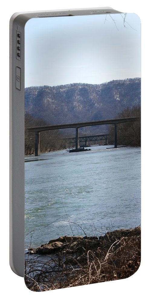 River Portable Battery Charger featuring the photograph Multiple Bridges Crossing The Holston River by Leann DeBord