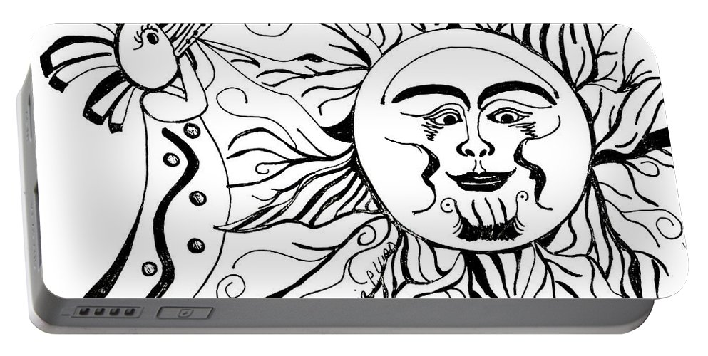 Musical Portable Battery Charger featuring the drawing Musical Sunrise by Maria Urso
