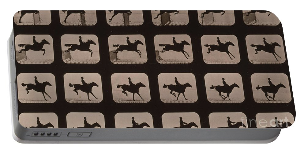 Technology Portable Battery Charger featuring the photograph Muybridge Locomotion Horse Leaping by Photo Researchers