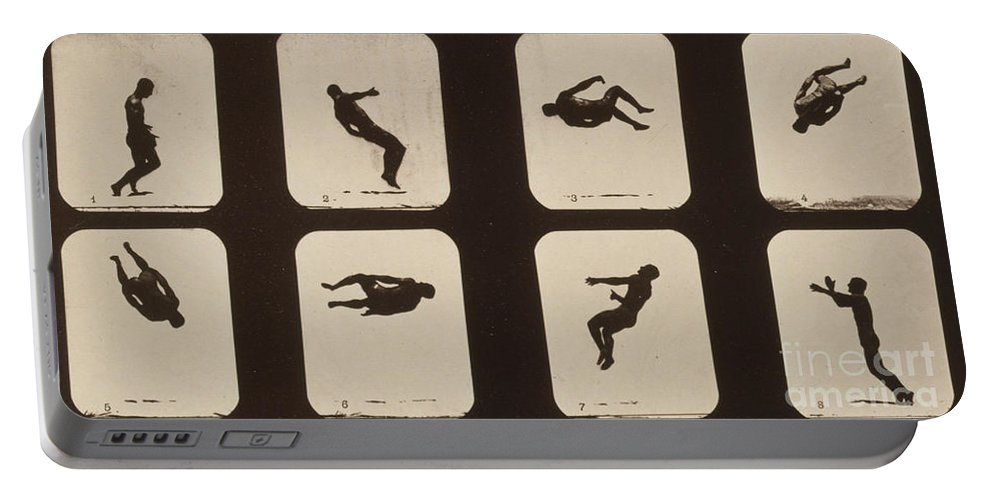 Technology Portable Battery Charger featuring the photograph Muybridge Locomotion, Twisting by Photo Researchers