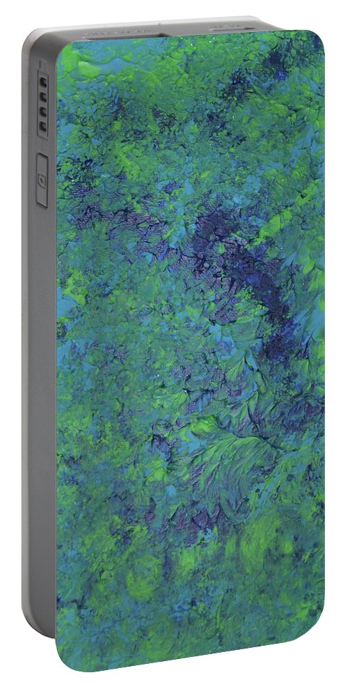 Blue Portable Battery Charger featuring the painting My Blue Heaven by Nancy Sisco